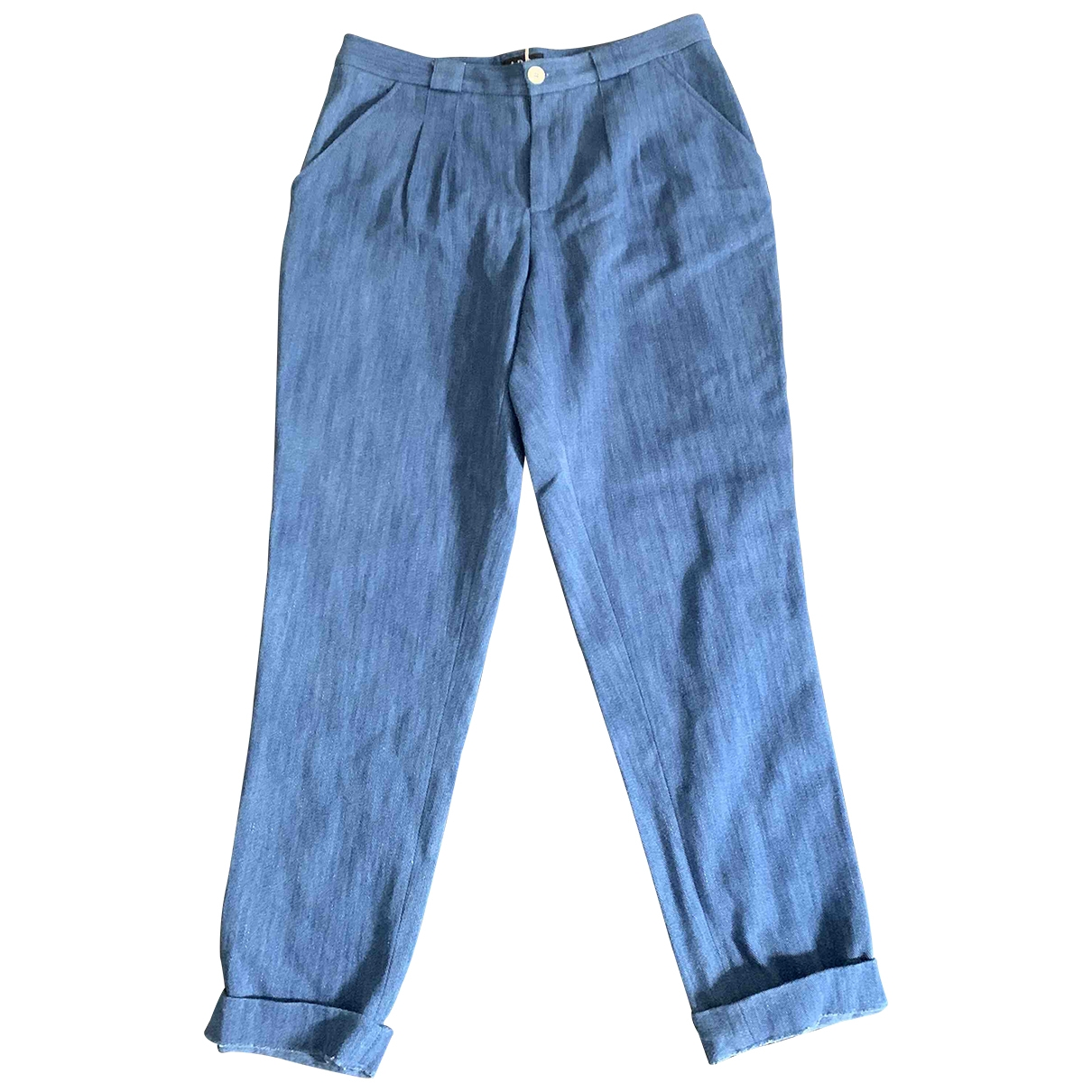 Apc \N Blue Cotton Trousers for Women 40 FR