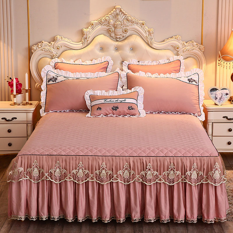 Solid Color Simple Style Bed Skirt Luxury Bed Skirts