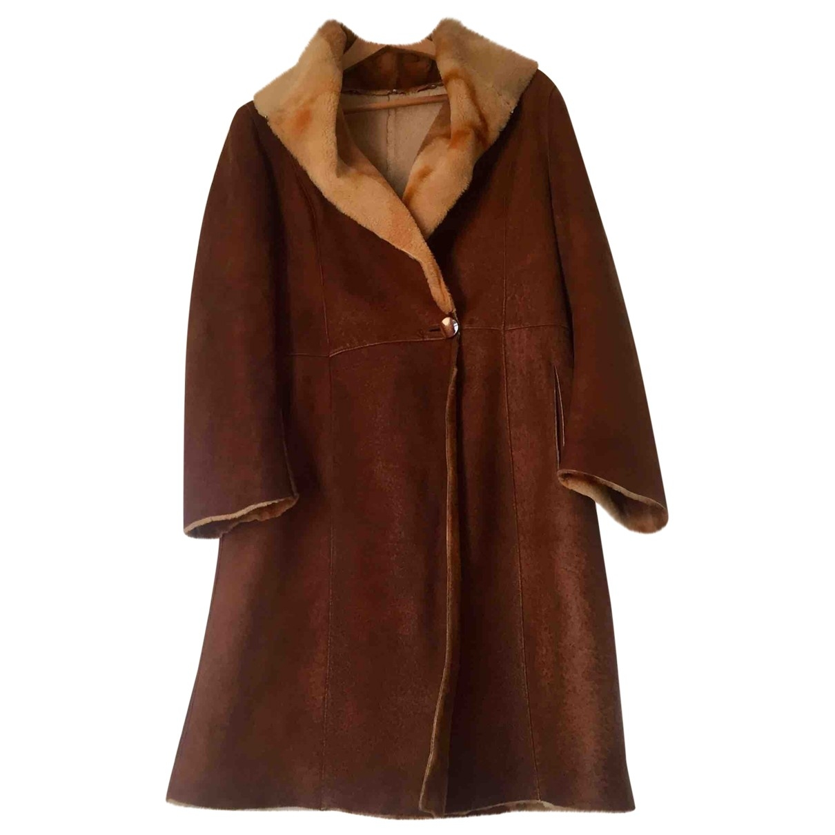 Non Signé / Unsigned \N Brown Leather coat for Women M International