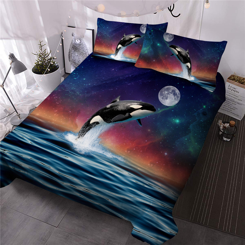 Killer Whale Reactive Printing Three-Piece Set Comforter Set Polyester Bedding Sets No-fading Twin Full Queen King