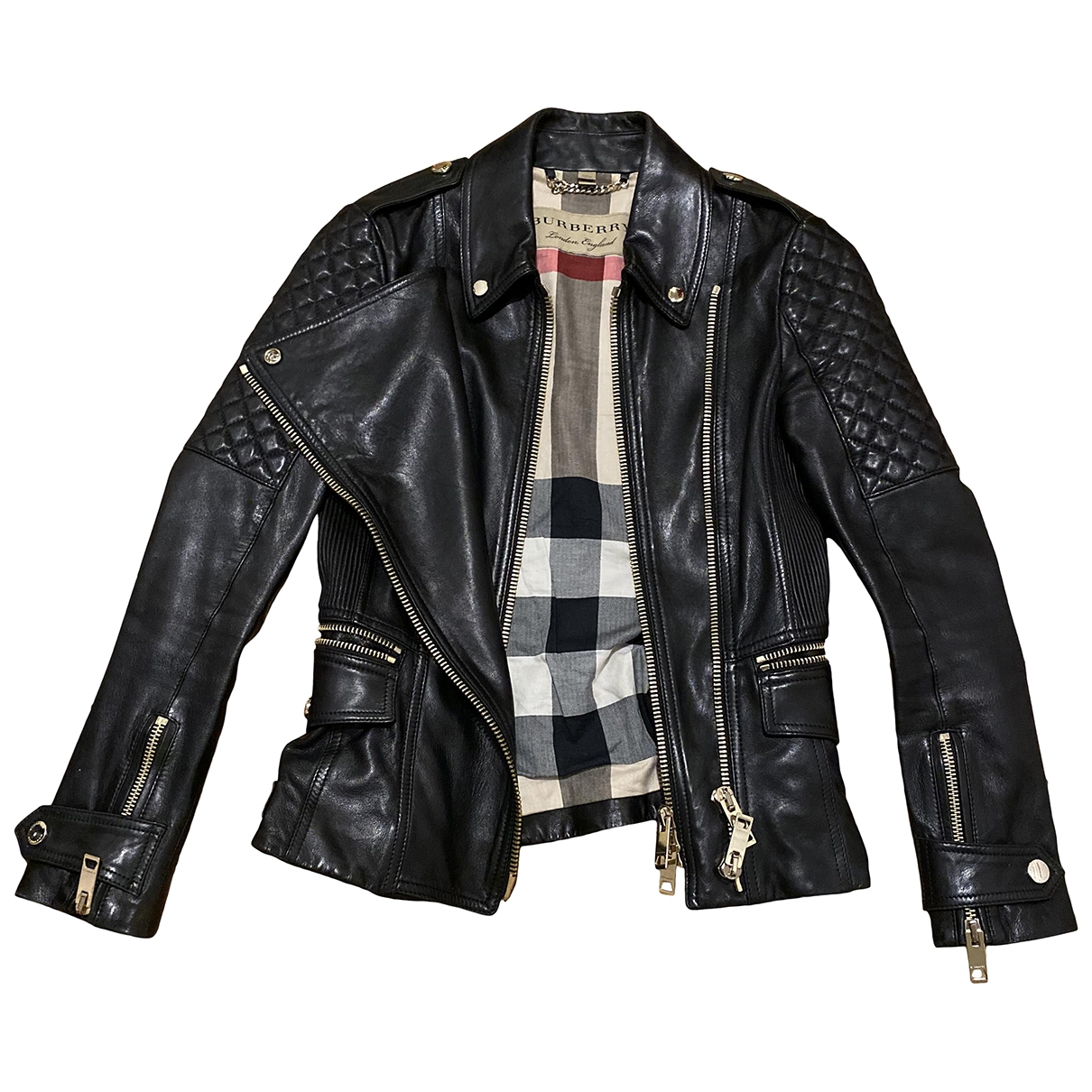 Burberry \N Black Leather Leather jacket for Women 36 IT