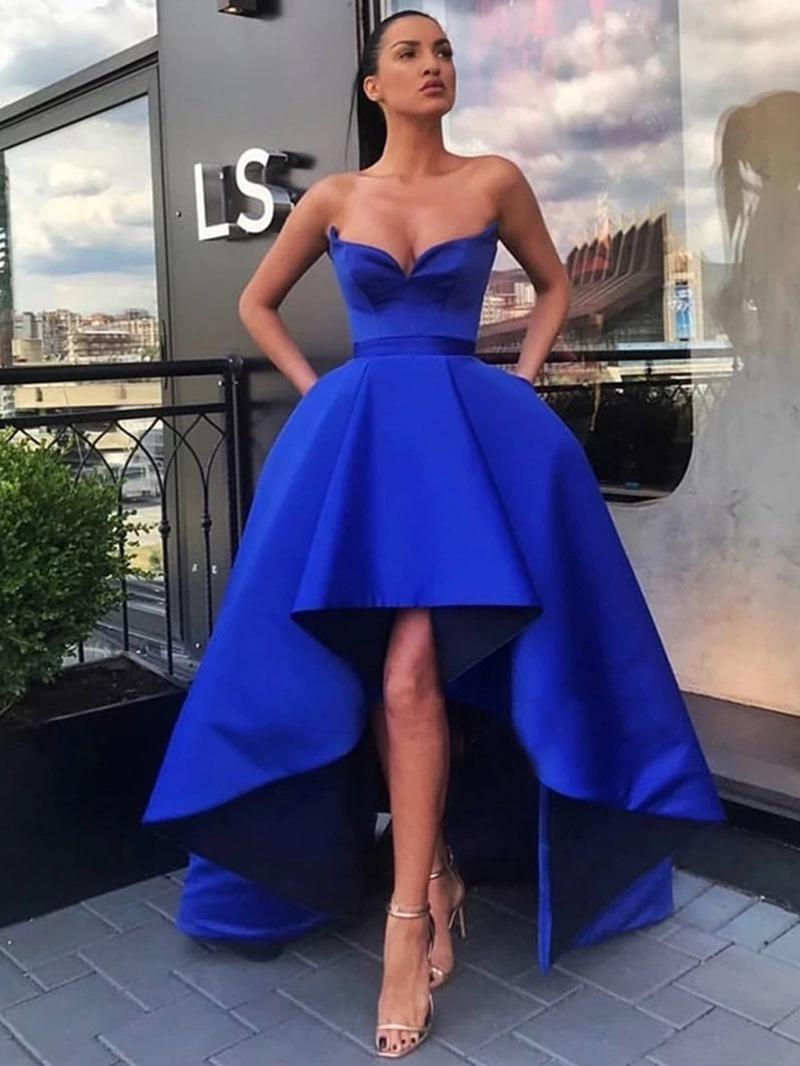 Ericdress Knee-Length High Low Pleats A-Line Evening Dress 2020