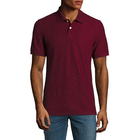 Arizona Mens Short Sleeve Polo Shirt, Large , Red