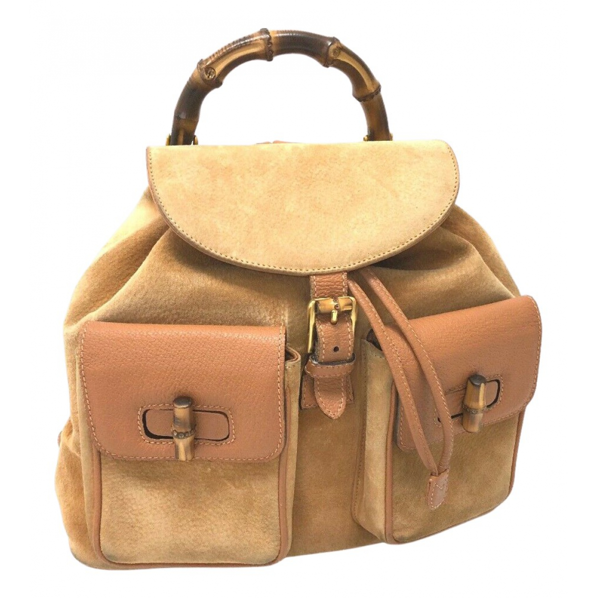 Gucci Bamboo Beige Suede backpack for Women N