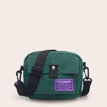 Slogan Patch Decor Crossbody Bag