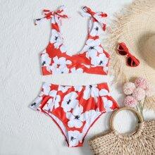 Bikini Badeanzug mit Blumen Muster und Raffung