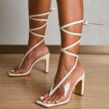 Clear Toe Post Tie Leg Heeled Sandals