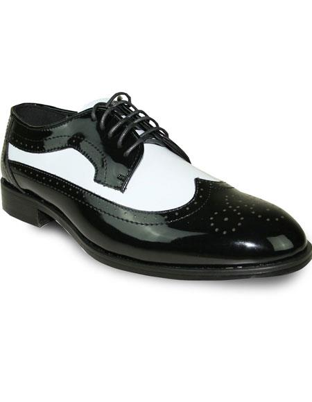 Mens 2 Tone Oxford Tuxedo White Patent Formal Prom Lace Up Dress Shoe