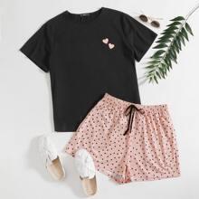 Plus Heart Print Top & Tie Front Polka Dot Shorts PJ Set