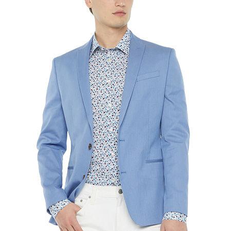 JF J.Ferrar Mens Pin Dot Slim Fit Sport Coat - Slim, 44 Long, Blue