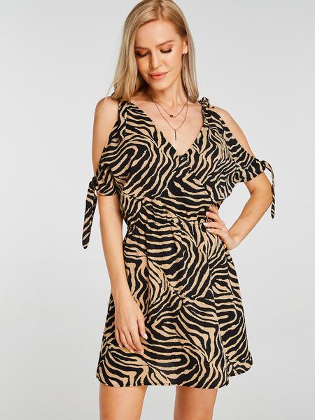 YOINS Coffee Zebra Print V-neck Cold Shoulder Stretch Waistband Dress