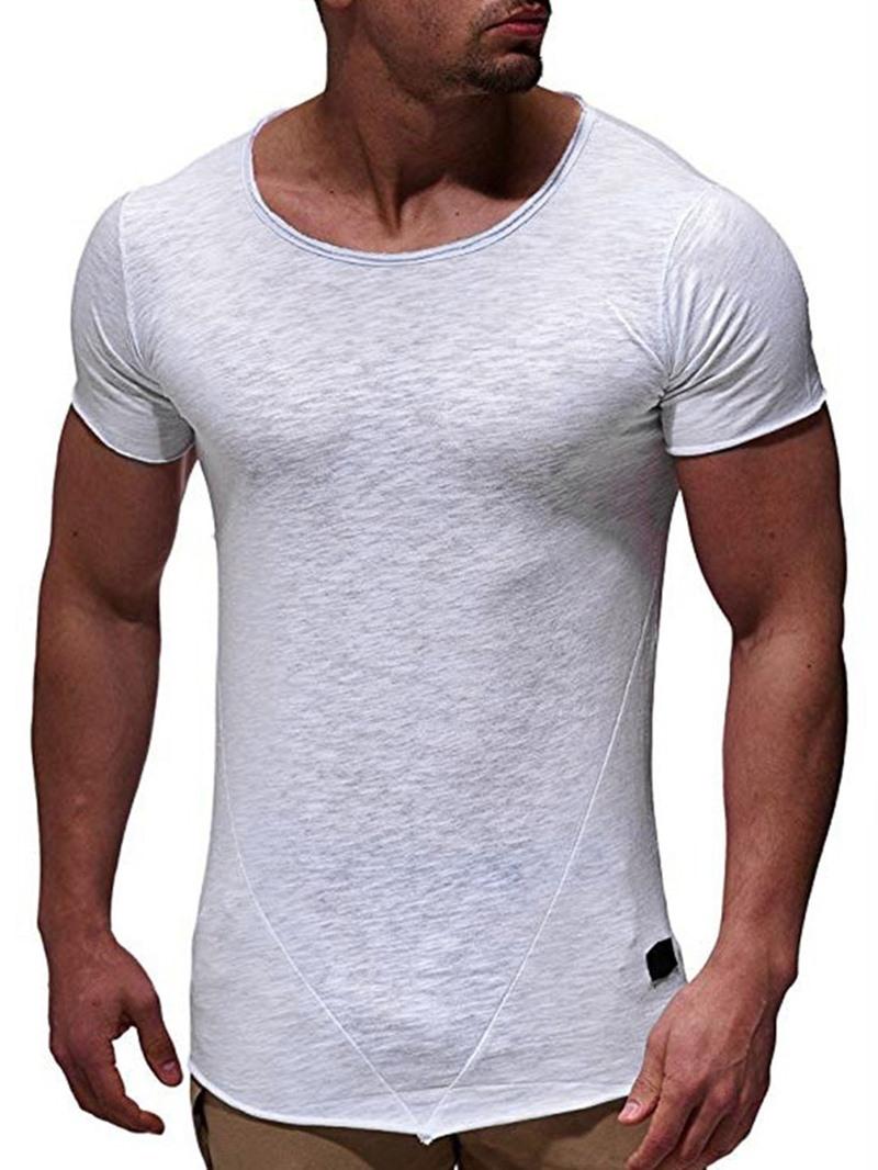 Ericdress Round Neck Plain Casual Slim Mens T-shirt