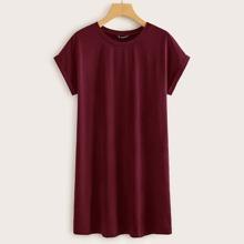 Einfarbiges T-Shirt Kleid mit Manschetten
