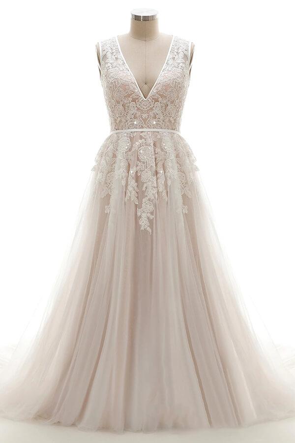 Elegant V-Neck Lace Appliques A-line Wedding Dress Tulle Evening party Dress