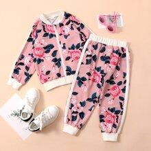 Toddler Girls Floral Tape Side Bomber Jacket With Sweatpants