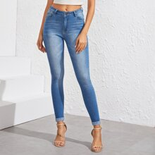 Stone Wash Whiskering Skinny Jeans