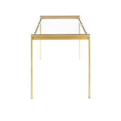 DT-FUJ4728 AUGL Fuji Contemporary/glam Dining Table in Gold Metal with Clear Glass