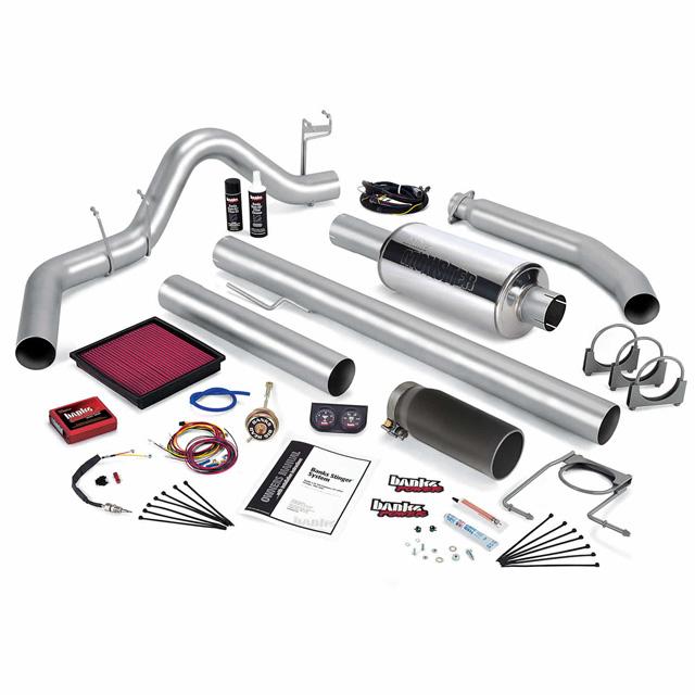 Stinger Bundle Power System W/Single Exit Exhaust Black Tip 98 Dodge 5.9L Extended Cab Banks Power 49364-B