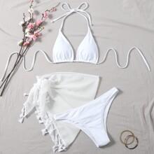 3 piezas Bañador bikini triangulo con falda de playa
