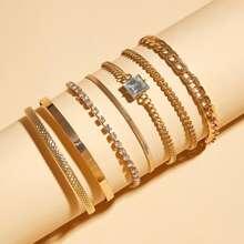 7 Stuecke Strass Graviertes Armband