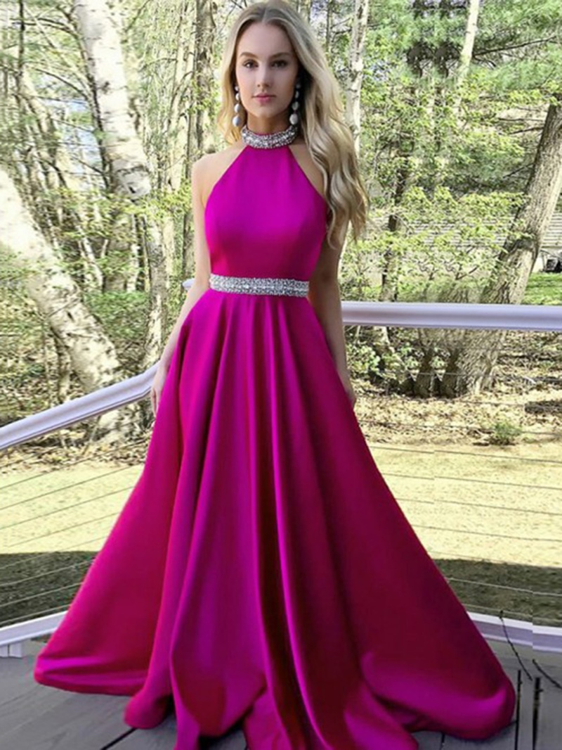 Ericdress Backless Beading Halter Prom Dress