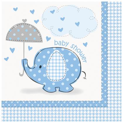 Serviettes repas de fête de naissance, éléphant bleu, 16 carats