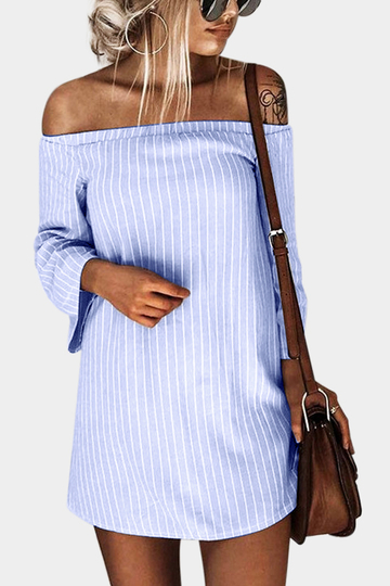 Yoins Cornflowerblue Sexy Off Shoulder Lace Up Stripe Pattern Mini dress