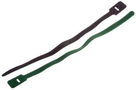 RS PRO Green Hook & Loop Cable Tie, 325mm x 25 mm (10)