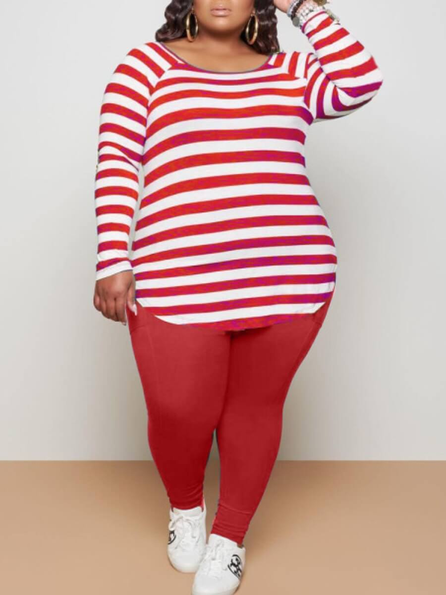 LW Lovely Casual O Neck Striped Red Plus Size Two-piece Pants Set