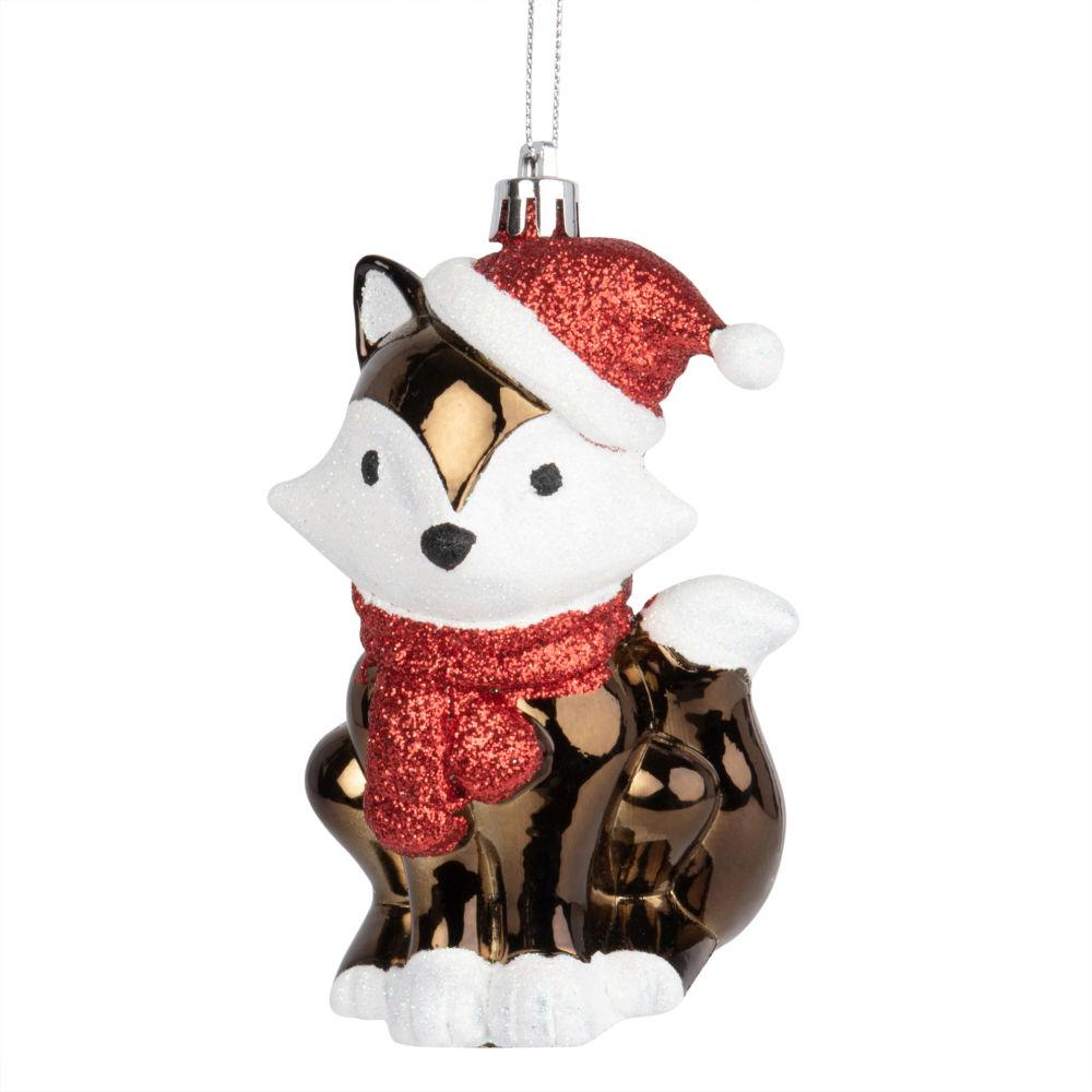 Weihnachtliche Haengedeko, bunter Fuchs aus Glitzer