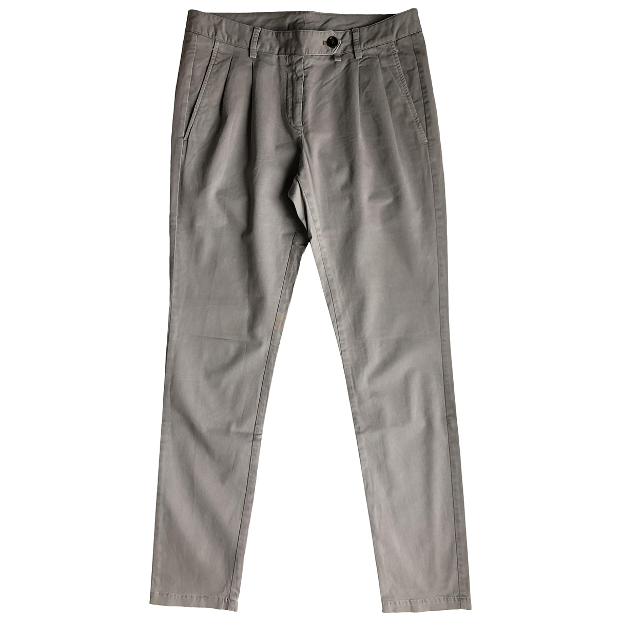 Mauro Grifoni \N Grey Cotton Trousers for Women 40 FR