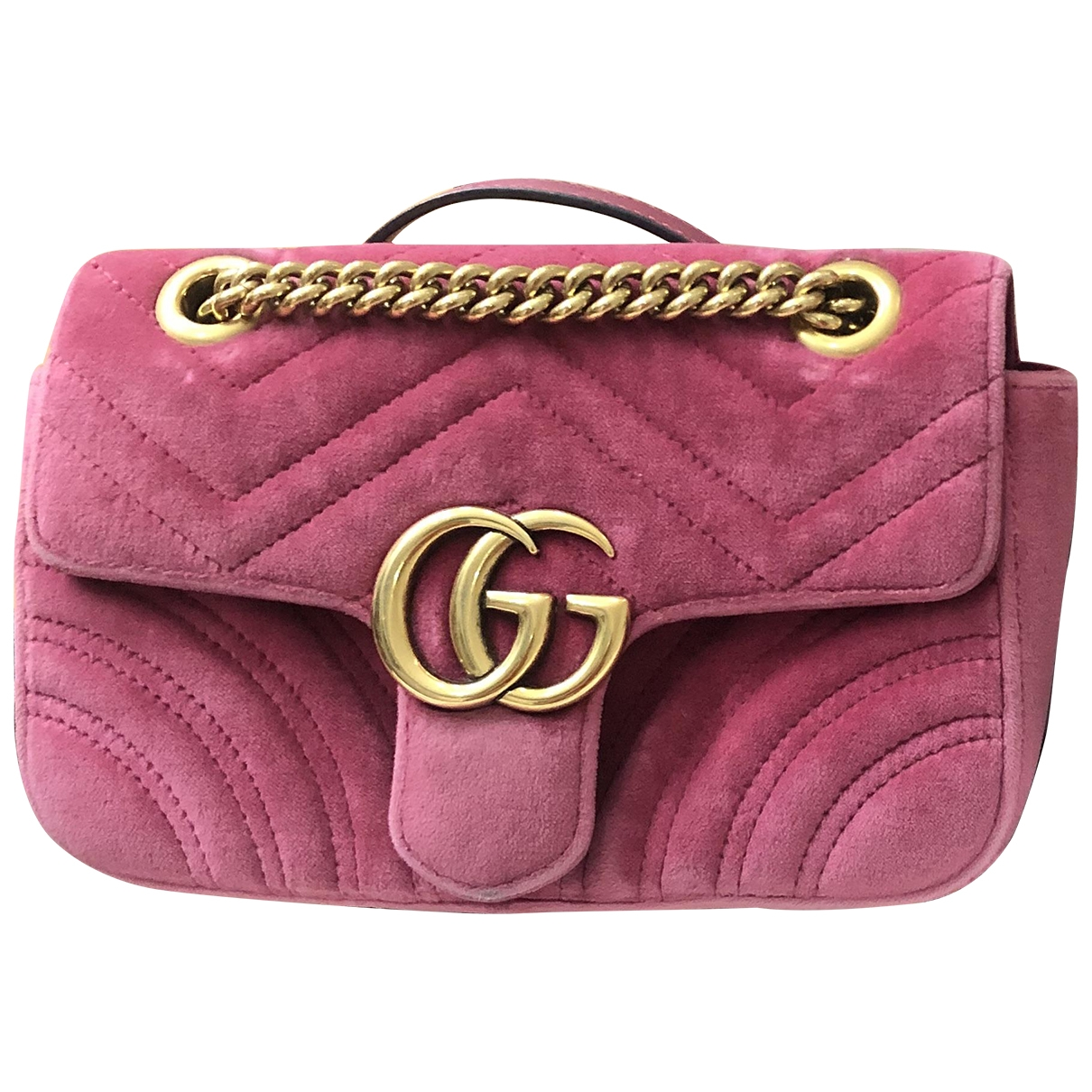 Gucci - Sac a main Marmont pour femme en velours - rose