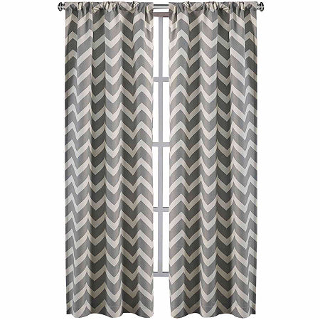 Home Expressions Rhett Light-Filtering Rod-Pocket Set of 2 Curtain Panel, One Size , Gray