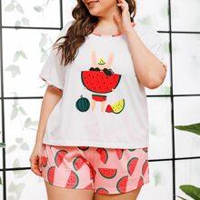 Plus Watermelon Print PJ Set