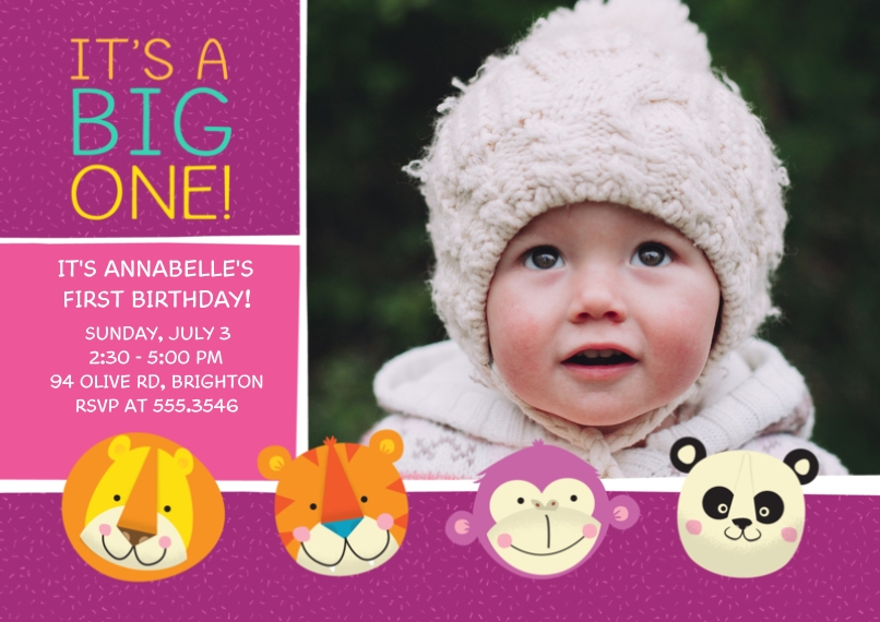 1st Birthday Invitations 5x7 Cards, Premium Cardstock 120lb with Scalloped Corners, Card & Stationery -Zoo Animals 1st Birthday