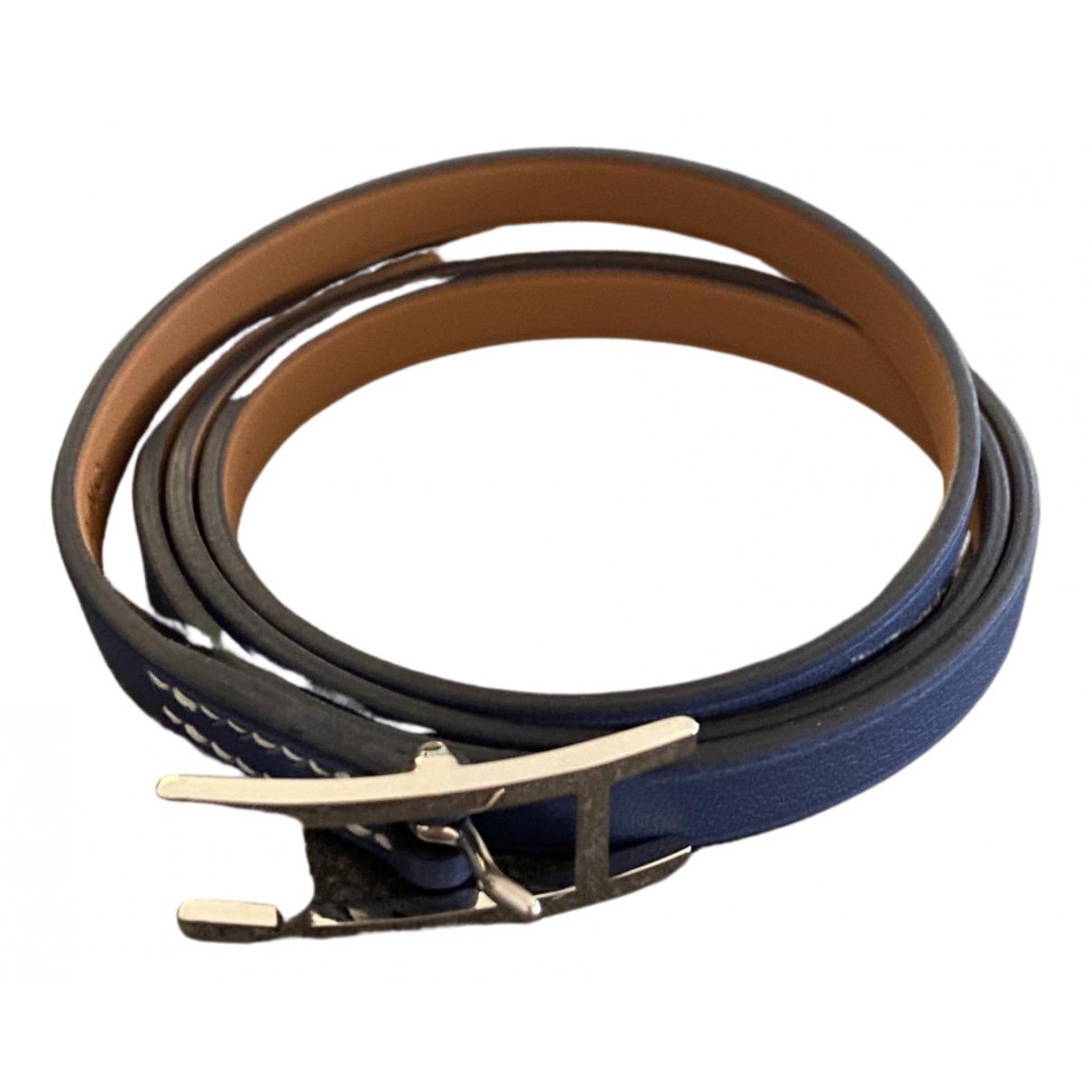 Hermes - Bracelet Hapi pour femme en cuir - bleu