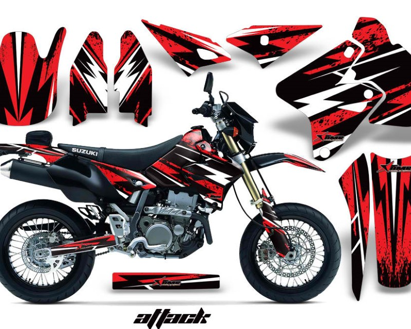 AMR Racing Dirt Bike Graphics Kit Decal Sticker Wrap For Suzuki DRZ400SM 2000-2018�ATTACK RED