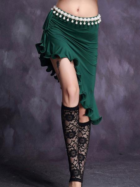 Milanoo Belly Dance Costume Mint Green Ruffles Pearls Drawstring Short Skirt For Women