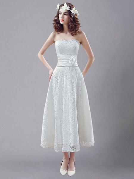 Milanoo White Simple Wedding Dresses Lace Strapless Rhinestone Sash Flowers Tea Length Bridal Gown