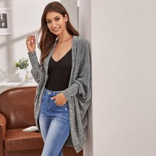 Marled Knit Curved Cocoon Cardigan