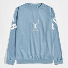 Sweatshirt mit Hirsch und Buchstaben Grafik