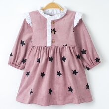 Baby Girl Corduroy Star Print Frill Neck Smock Dress