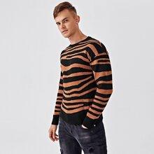 Men Zebra Striped Drop Shoulder Sweater