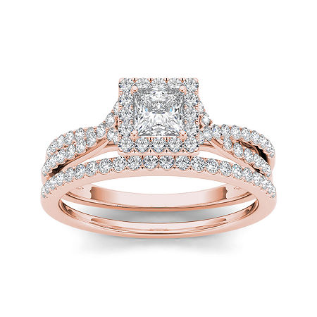 1 CT. T.W. Diamond 10K Rose Gold Bridal Ring Set, 6 1/2 , No Color Family
