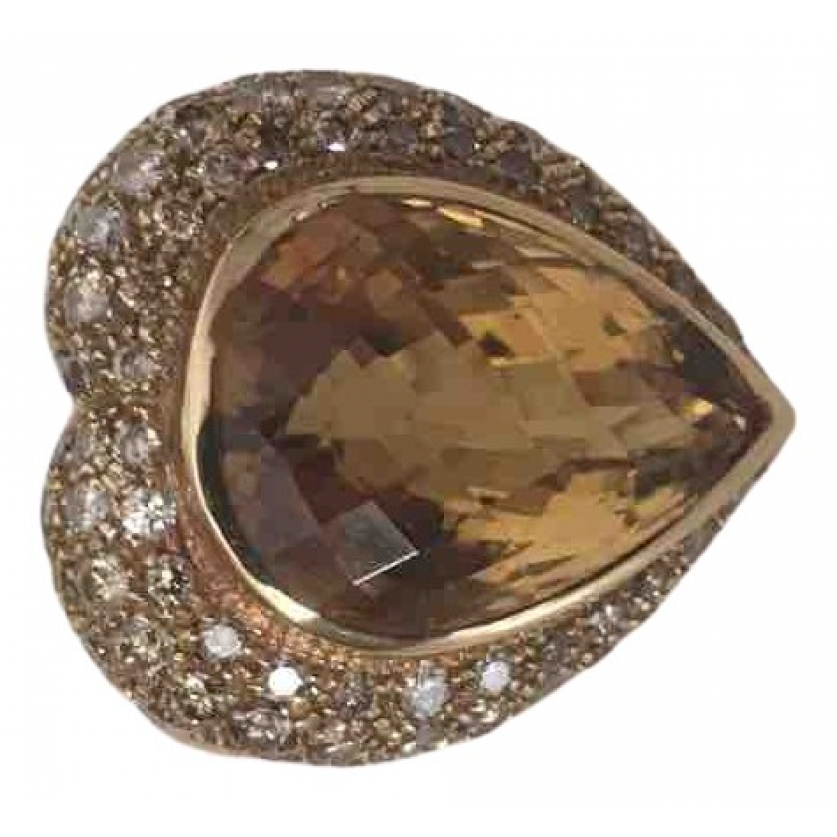 Non Signé / Unsigned Art Déco Brown Yellow gold ring for Women 53 EU