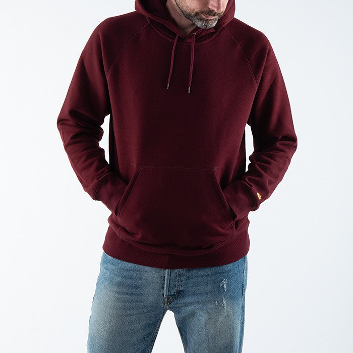 Carhartt Hooded Chase Sweat I026384 BORDEAUX/GOLD