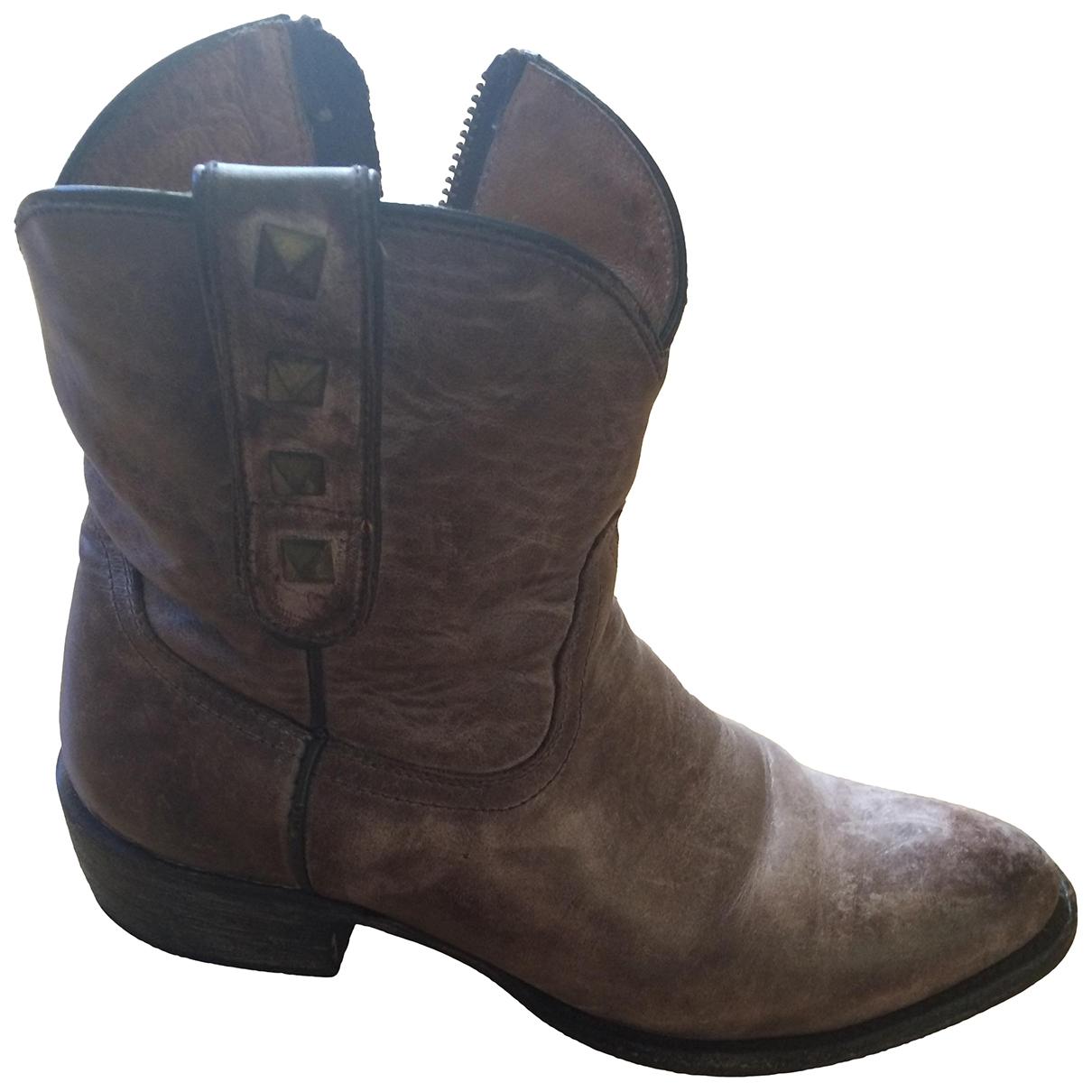 Mexicana - Boots   pour femme en cuir - rose