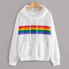 Hoodie mit Regenbogen Streifen und Kordelzug