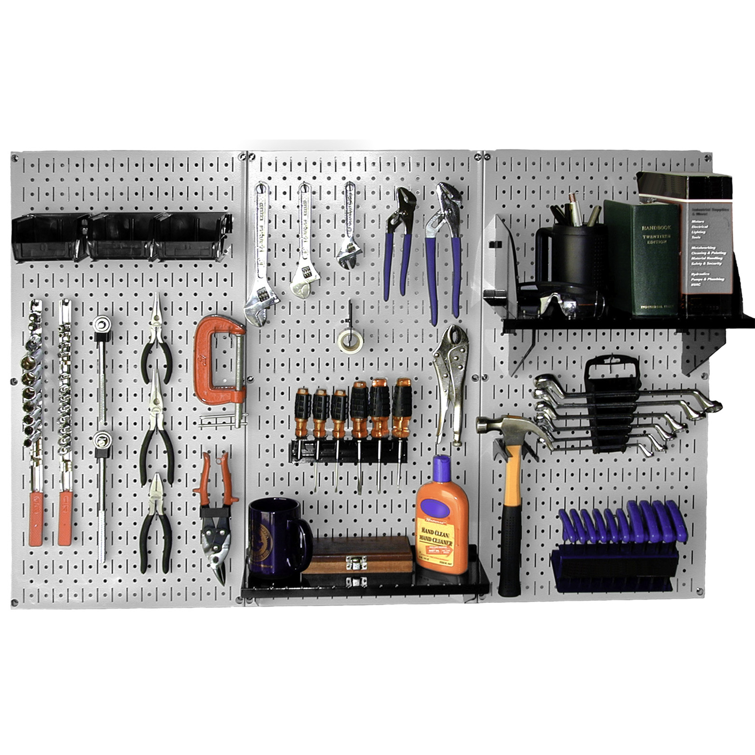 Steel Pegboard, Standard Workbench Kit in Gray with Black Accessories