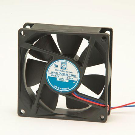 RS PRO , 12 V dc, DC Axial Fan, 80 x 80 x 25mm, 68m³/h, 1.8W, IP55